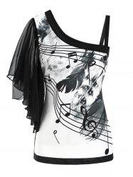 Skew Neck Feather Musical Note Print Butterfly Sleeve T-shirt -