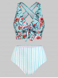 Floral Striped Criss Cross High Waisted Tankini Swimwear -