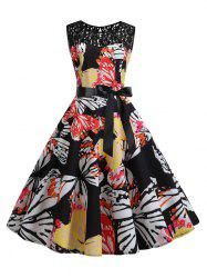 Butterfly Lace Panel Bowknot Belted Vintage Dress -