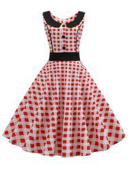 Checkered Button Embellished High Waisted Dress -