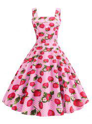 Polka Dot Strawberry A Line Vintage Dress -