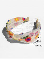 Floral Embroidery Mesh Knotted Headband -