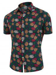 Tropical Pineapple Print Button Up Linen Shirt -