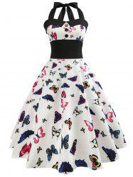 Butterfly Halter Tied A Line Vintage Dress -