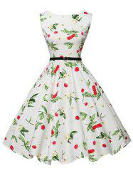 Belted Floral Cherry Print Sleeveless Dress -