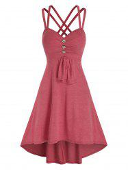 Mock Button Strappy High Low Dress -