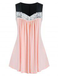 Plus Size Lace Panel Sweetheart Neck Tunic Ruched Tank Top -
