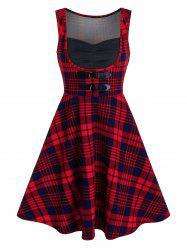 Tartan Print Dual Buckle Sleeveless Vintage Dress -