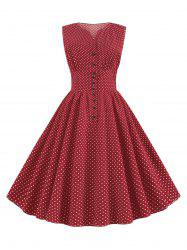 Ditsy Polka Dot Button Front A Line Retro Dress -