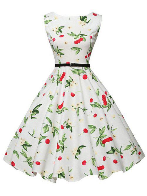 Chic Belted Floral Cherry Print Sleeveless Dress