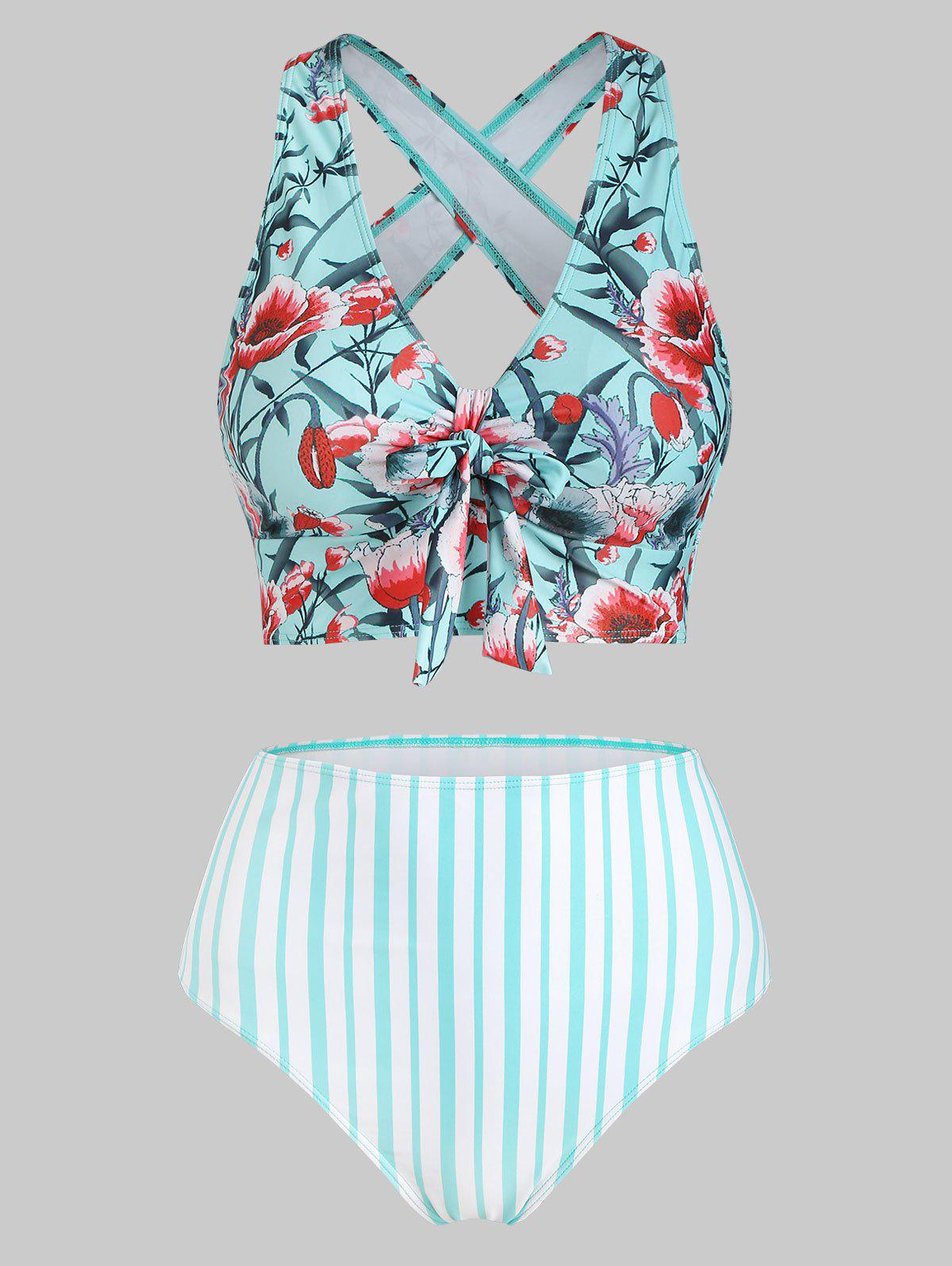 Sale Floral Striped Criss Cross High Waisted Tankini Swimwear