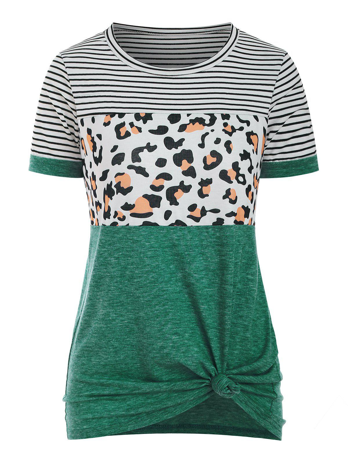 Latest Striped Leopard Short Sleeve T-shirt