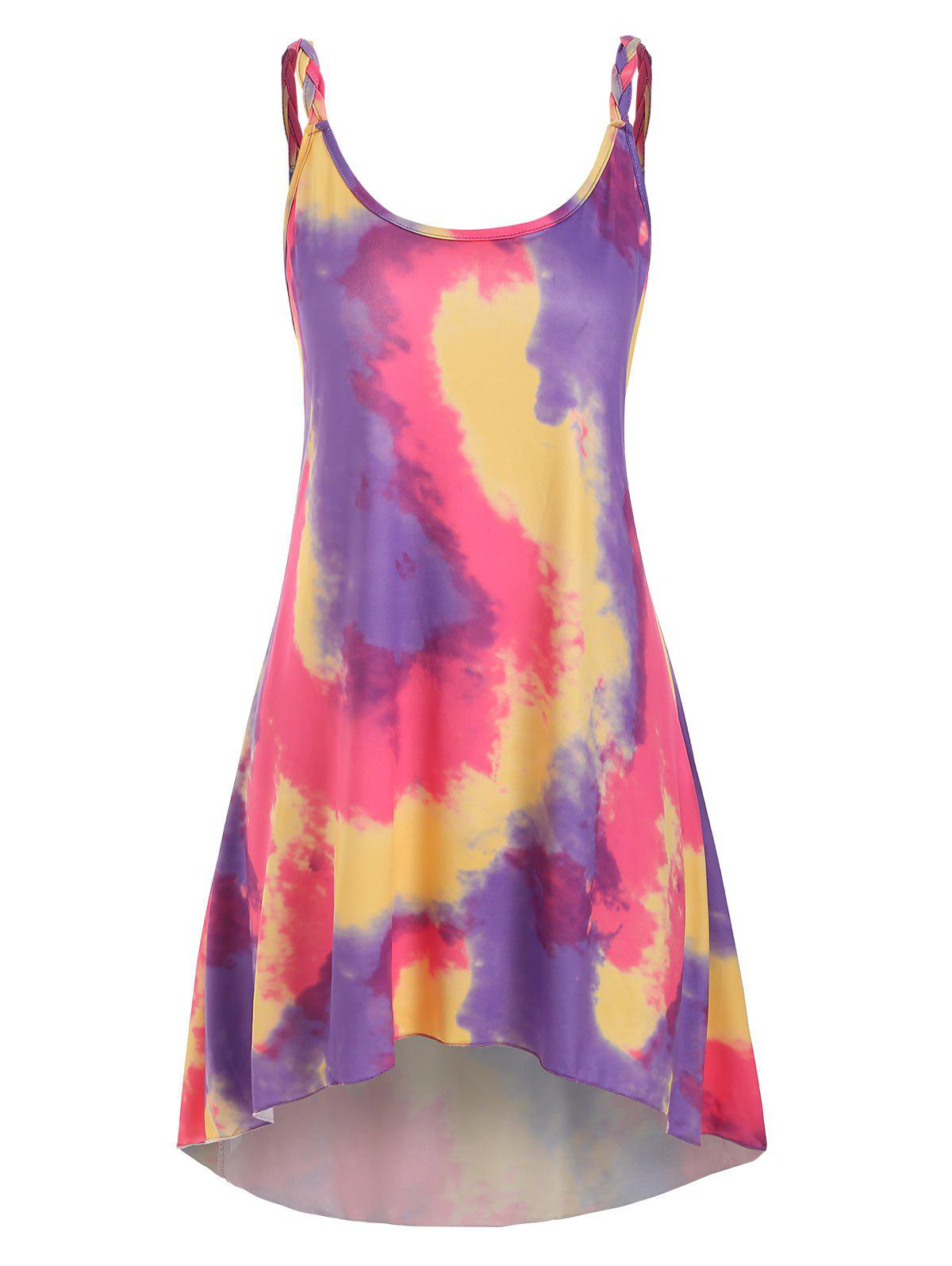 Shop Tie Dye Braided Strap Tunic Dress