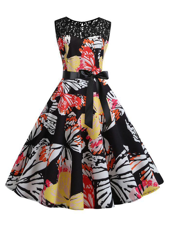 Best Butterfly Lace Panel Bowknot Belted Vintage Dress