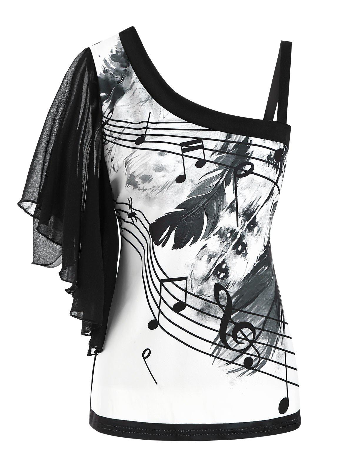 New Skew Neck Feather Musical Note Print Butterfly Sleeve T-shirt