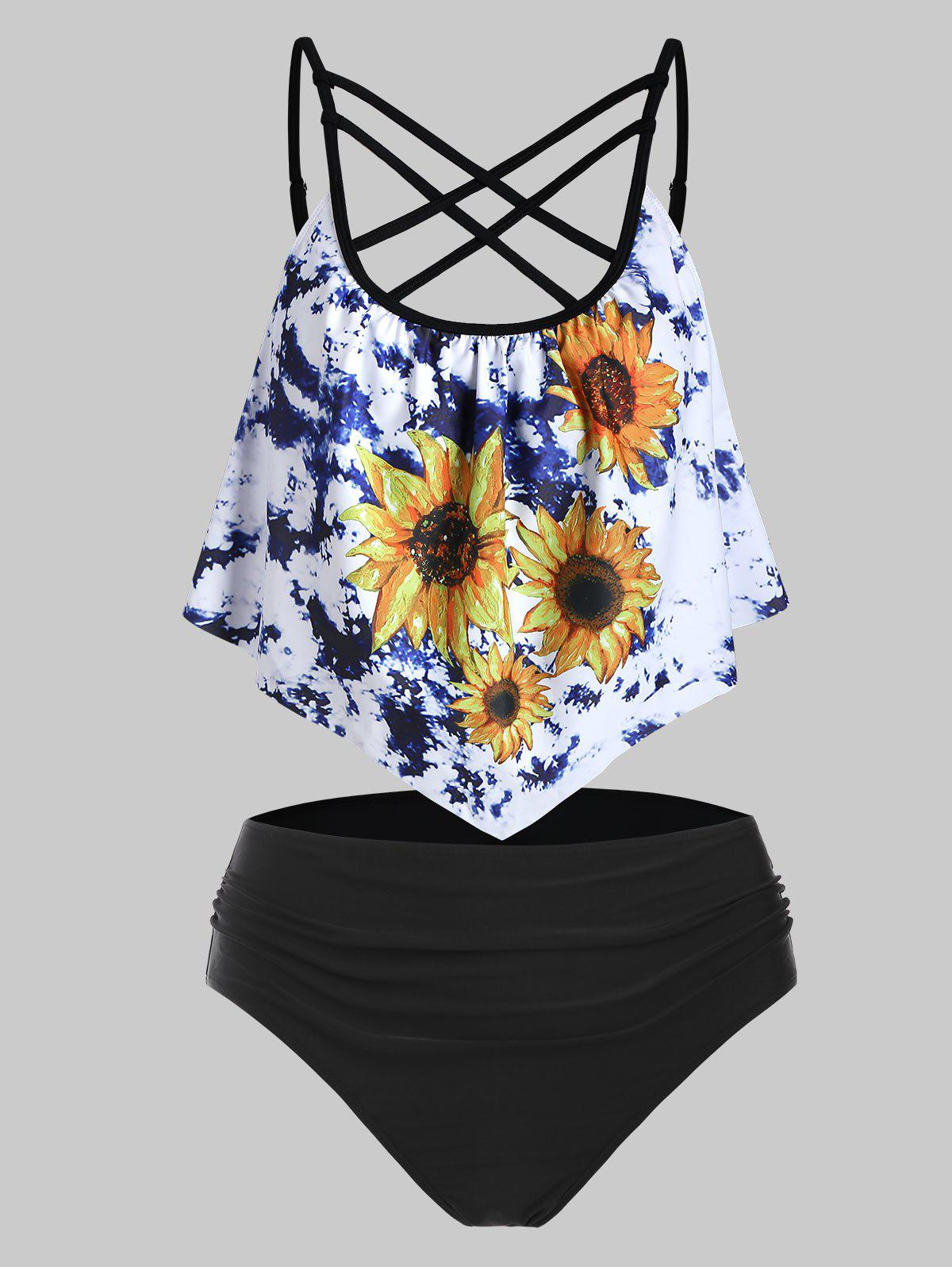 Hot Criss Cross Tie Dye Sunflower Flounce Tummy Control Tankini Swimwear