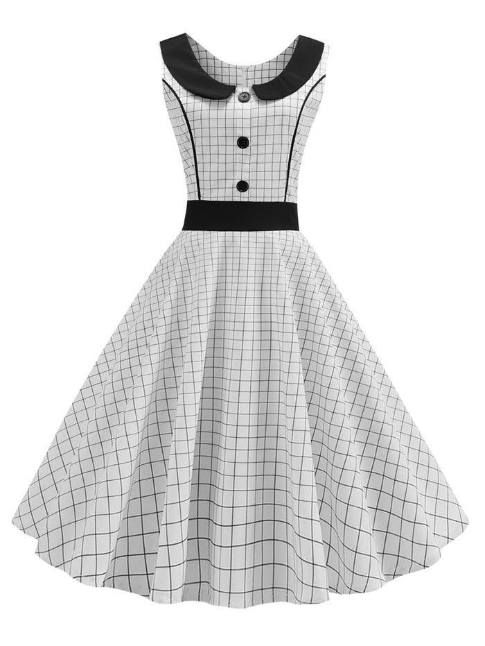 Store Checkered Button Embellished High Waisted Dress