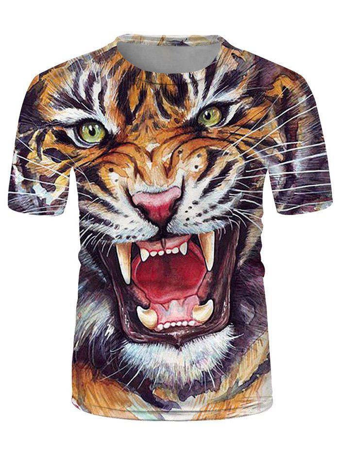 Affordable Tiger Graphic Casual Crew Neck T Shirt