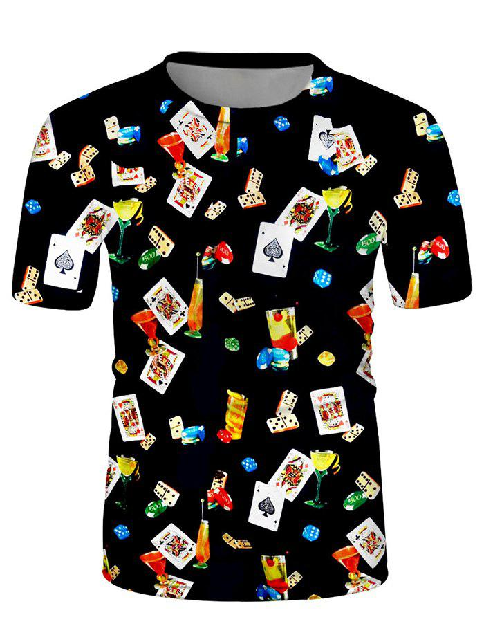 Sale Poker Card Cocktail Print Crew Neck Casual T Shirt