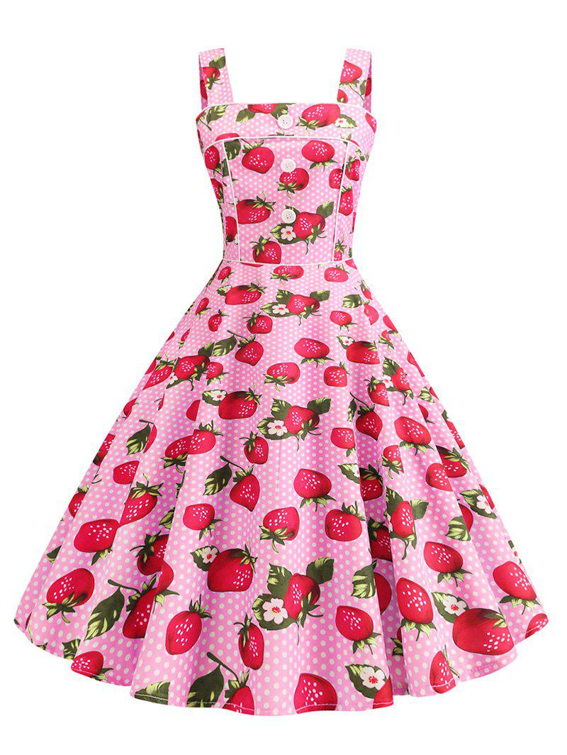 Discount Polka Dot Strawberry A Line Vintage Dress