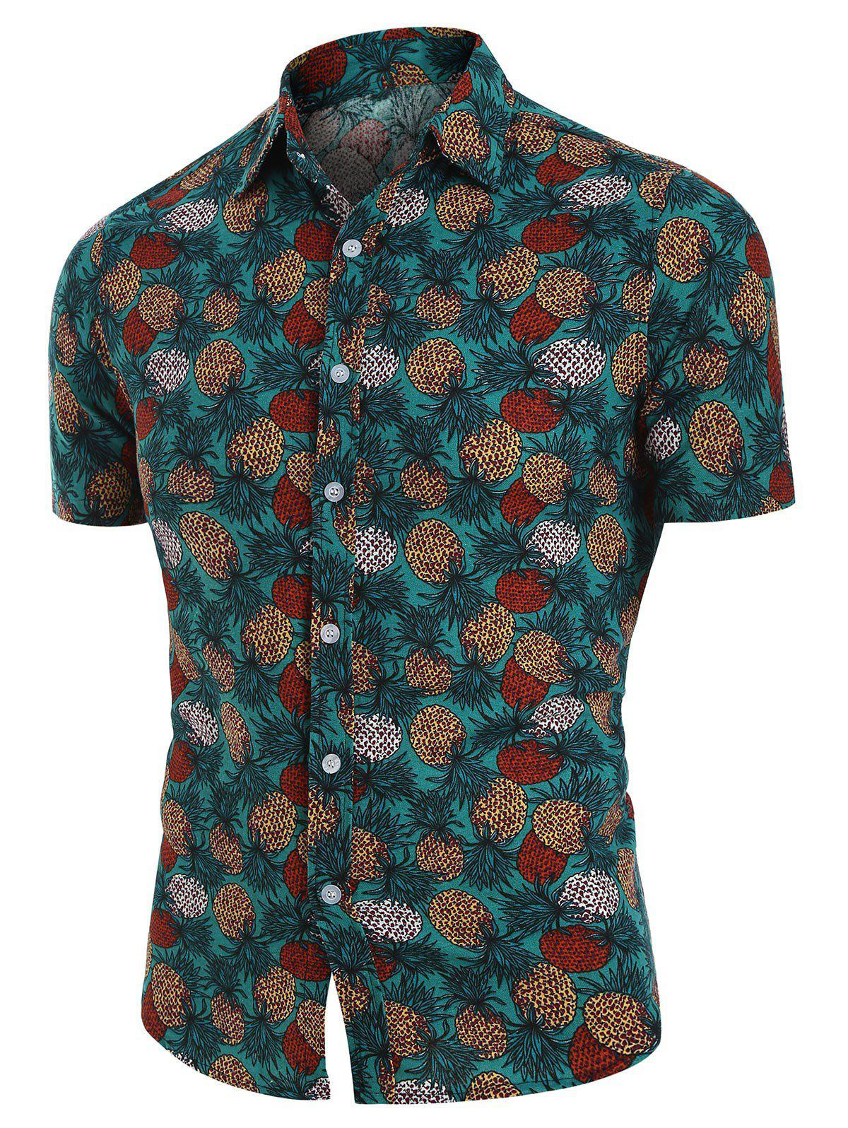 Affordable Tropical Pineapple Print Button Up Linen Shirt