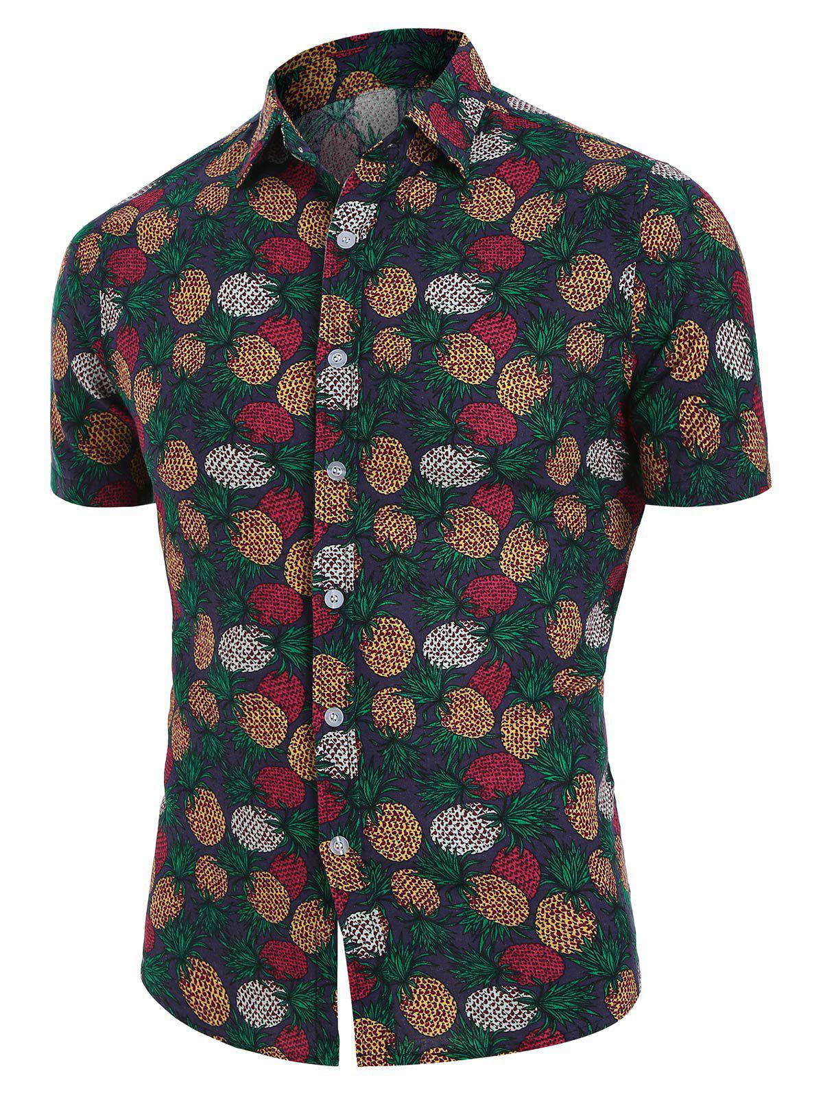 Sale Tropical Pineapple Print Button Up Linen Shirt