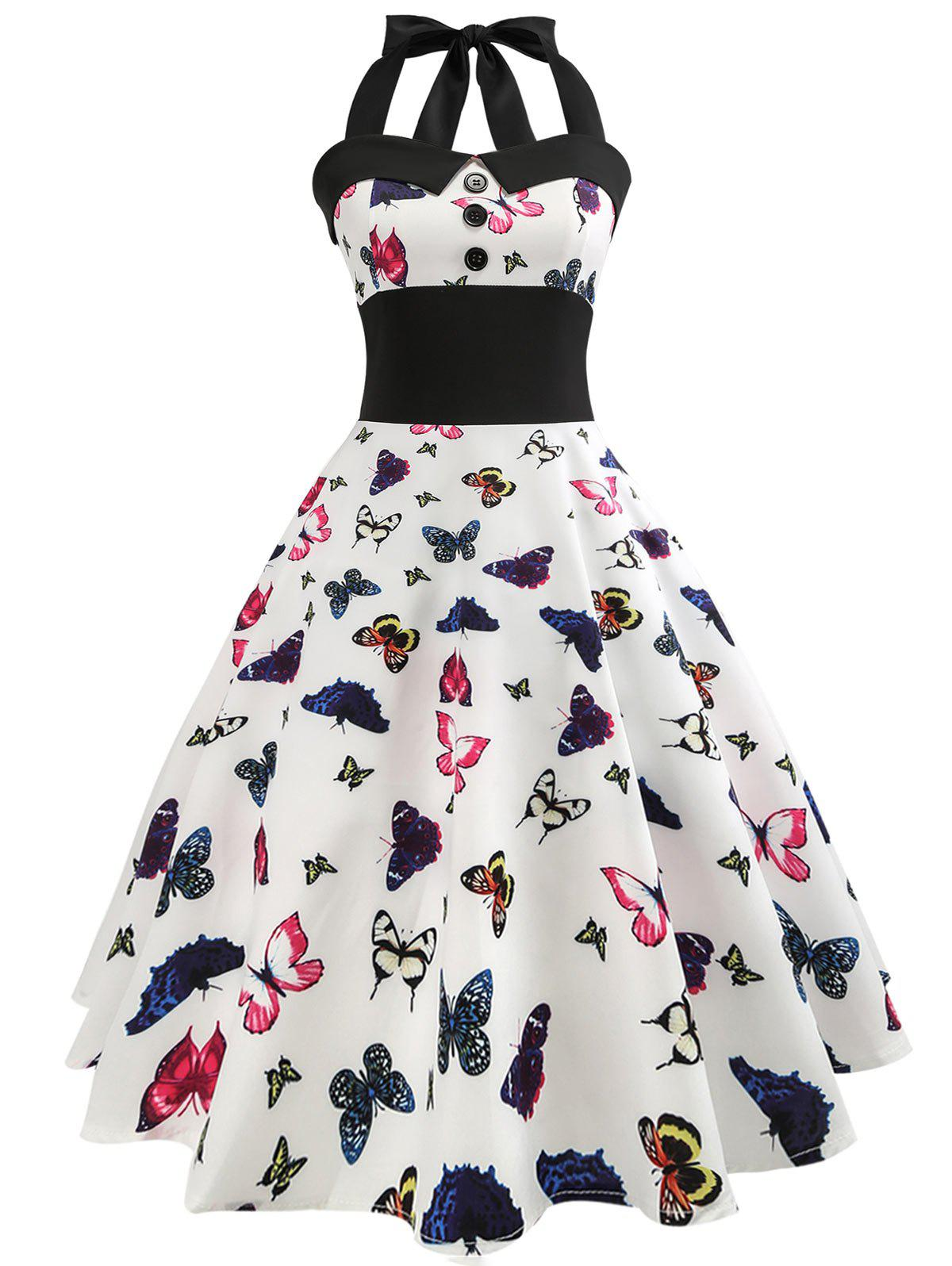 New Butterfly Halter Tied A Line Vintage Dress