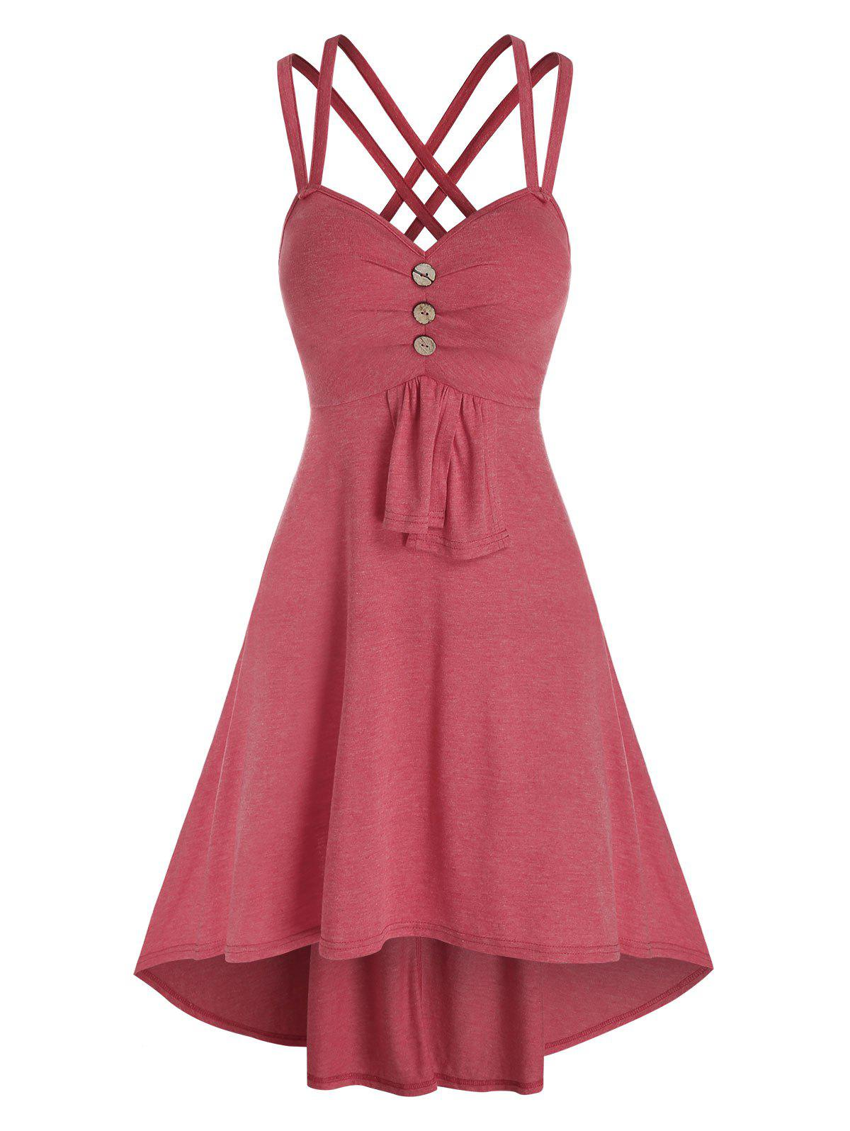 Hot Mock Button Strappy High Low Dress