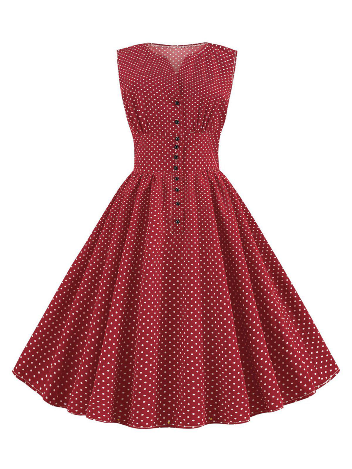 Discount Ditsy Polka Dot Button Front A Line Retro Dress