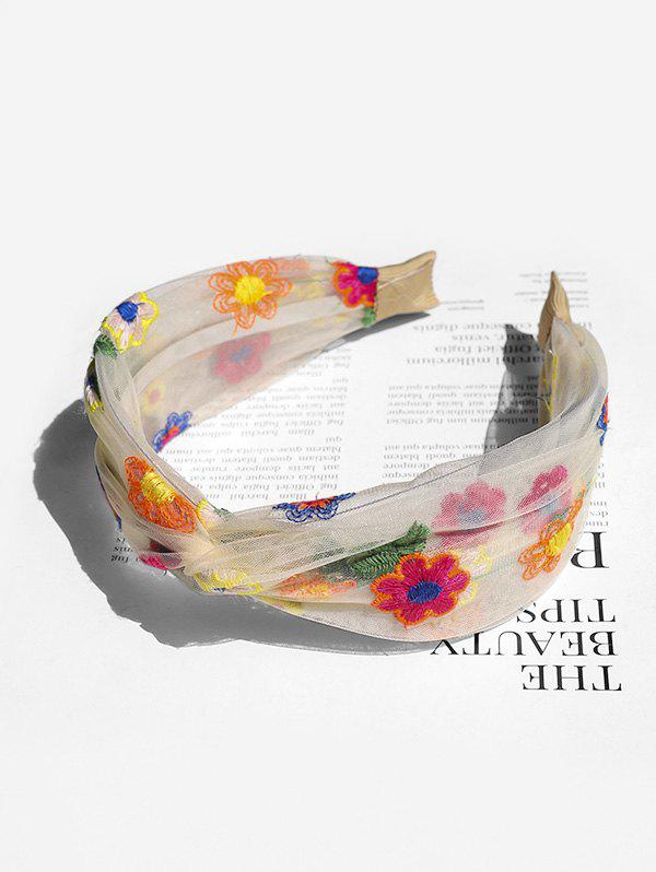 Discount Floral Embroidery Mesh Knotted Headband
