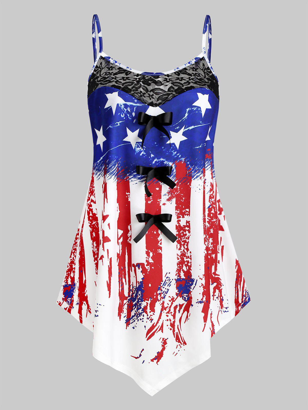 Chic Plus Size American Flag Print Asymmetric Tank Top
