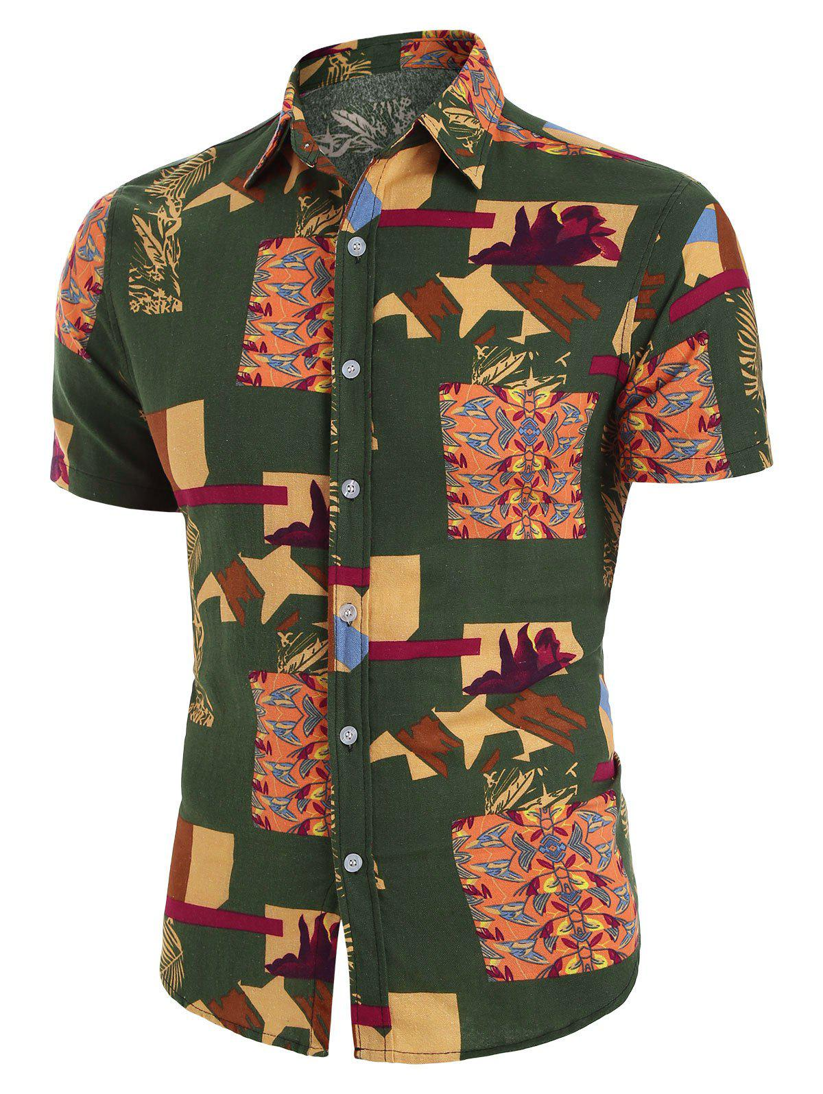 Outfit Printed Button Up Vintage Short Sleeve Shirt