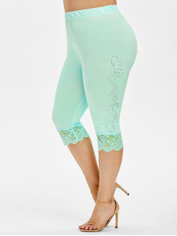 Plus Size Lace Trim Rhinestone Capri Leggings - LIGHT SLATE - L