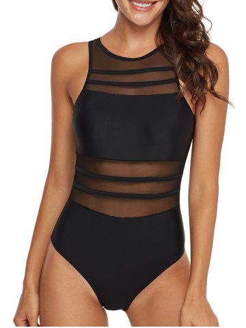 Mesh Panel Sheer Cutout One-piece Swimsuit