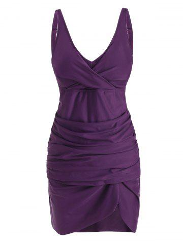 Ruched Twisted Slit Skirted Tankini Swimwear - CONCORD - M