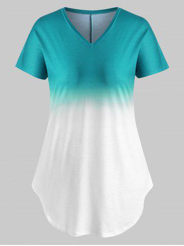 V Neck Curved Hem Ombre Plus Size Tee - GREEN - M