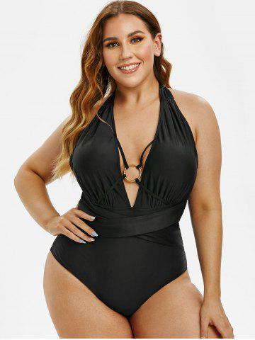 Plus Size O-ring Backless Ruched Halter One-piece Swimsuit