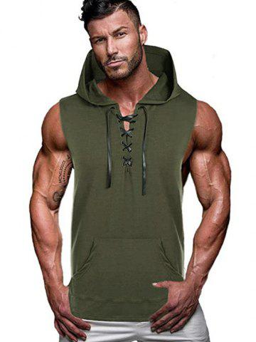 Kangaroo Pocket Lace-up Hooded Tank Top - DEEP GREEN - 2XL