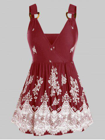 Plus Size Flower Print D-ring Skirted Surplice Tank Top - RED WINE - 3X