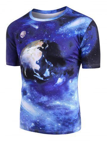 Galaxy Earth Pattern Short Sleeve T-shirt - MULTI-A - XL