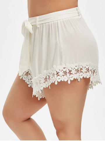 Plus Size Lace Trim Belted Shorts - MILK WHITE - L