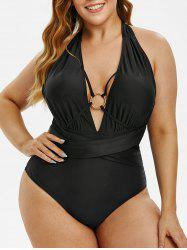 Plus Size O-ring Backless Ruched Halter One-piece Swimsuit -