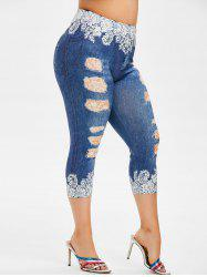 Plus Size 3D Print High Waisted Crop Jeggings -