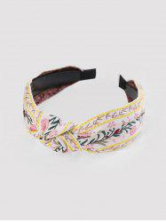 Ethnic Leaf Flower Embroidered Fabric Hairband -