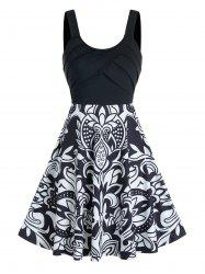 Front Pleated Flower Print Cami A Line Dress -