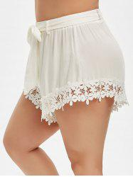 Plus Size Lace Trim Belted Shorts -
