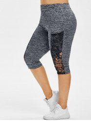 Plus Size Lace Panel Sheer Space Dye Capri Leggings -