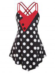 Strappy Mock Buttons Polka Dot Plus Size Tank Top -
