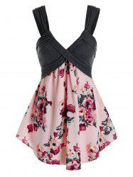 Plus Size Flower Print Backless Low Cut Tunic Tank Top -