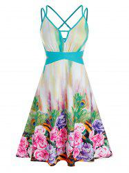 Plus Size Flower Peacock Feather Criss Cross Midi Dress -